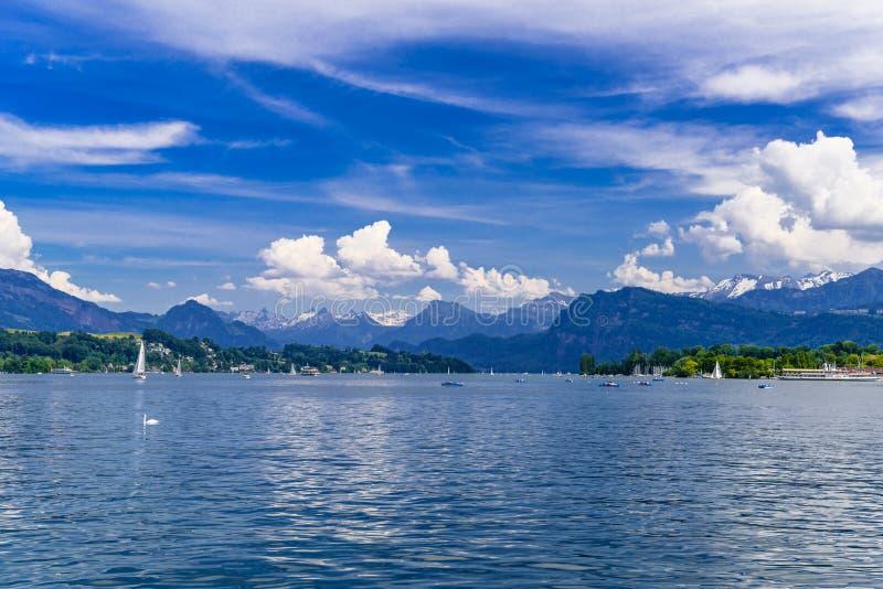 Klar genomskinlig azur sjö Lucerne, Luzern, Schweiz fotografering för bildbyråer