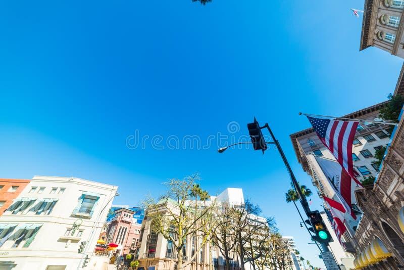 Klar himmel över Beverly Hills arkivfoton