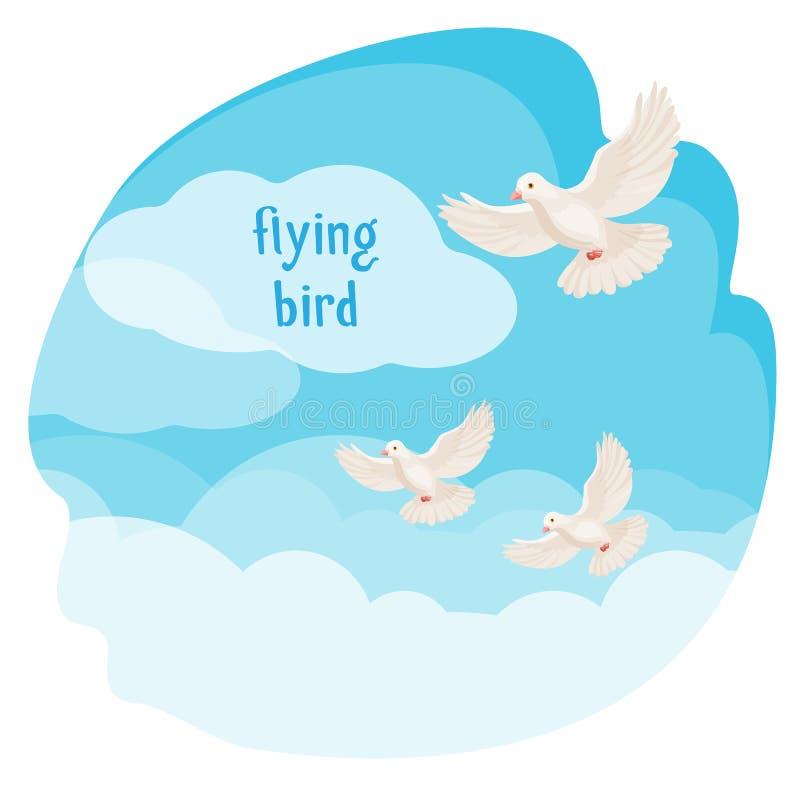 Klar himmel med illustrationen för vektor för flygfåglar i bubbla stock illustrationer