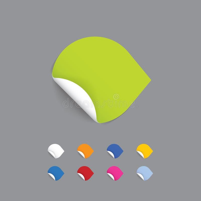 Klar knapp - pil. Colorfully pappers- klistermärke med rullande vit vektor illustrationer