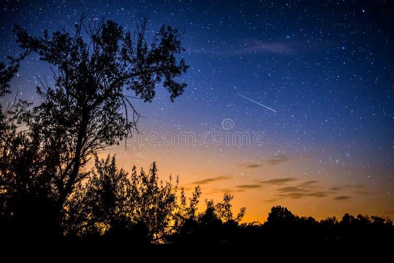 Klar natthimmel med den mjölkaktiga vägen fotografering för bildbyråer