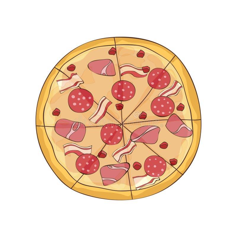Klar pizza med bacon, skinka och salami ocks? vektor f?r coreldrawillustration vektor illustrationer