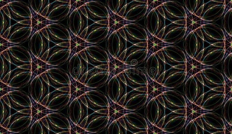Klar, sömlös bakgrund Abstrakt ornament för upprepande glödande cirklar Digitalt flerfärgat fönster av färgat glas vektor illustrationer