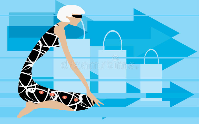 klar shopping royaltyfri illustrationer