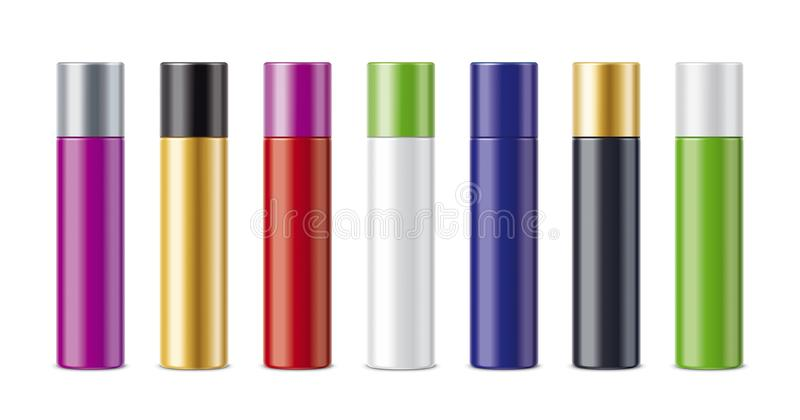 Klar skönhetsmedel färgade flaskor royaltyfri illustrationer
