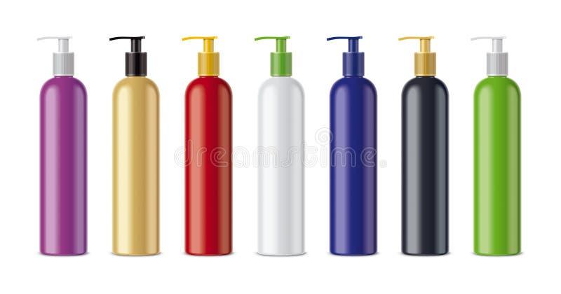 Klar sprejare färgade flaskor stock illustrationer