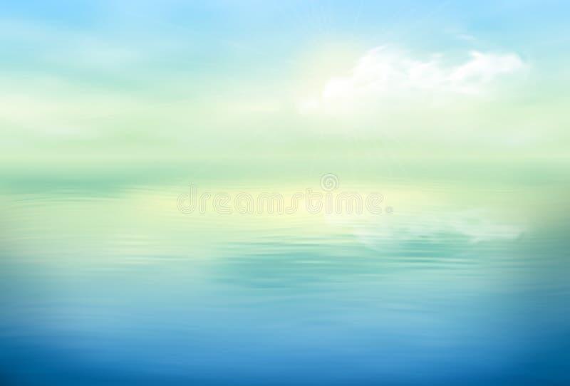 Klar stillhet för vattenvektorbakgrund royaltyfri illustrationer