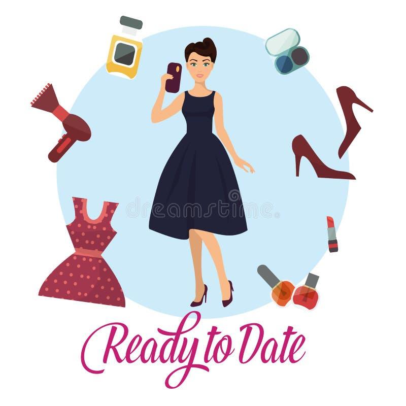 Klar till banervektorillustration Kvinna i innehavmobiltelefon för elegant klänning Kvinnligt tecknad filmtecken royaltyfri illustrationer