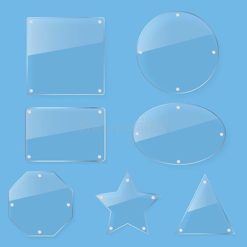 Klar uppsättning för glass platta för ton royaltyfri illustrationer