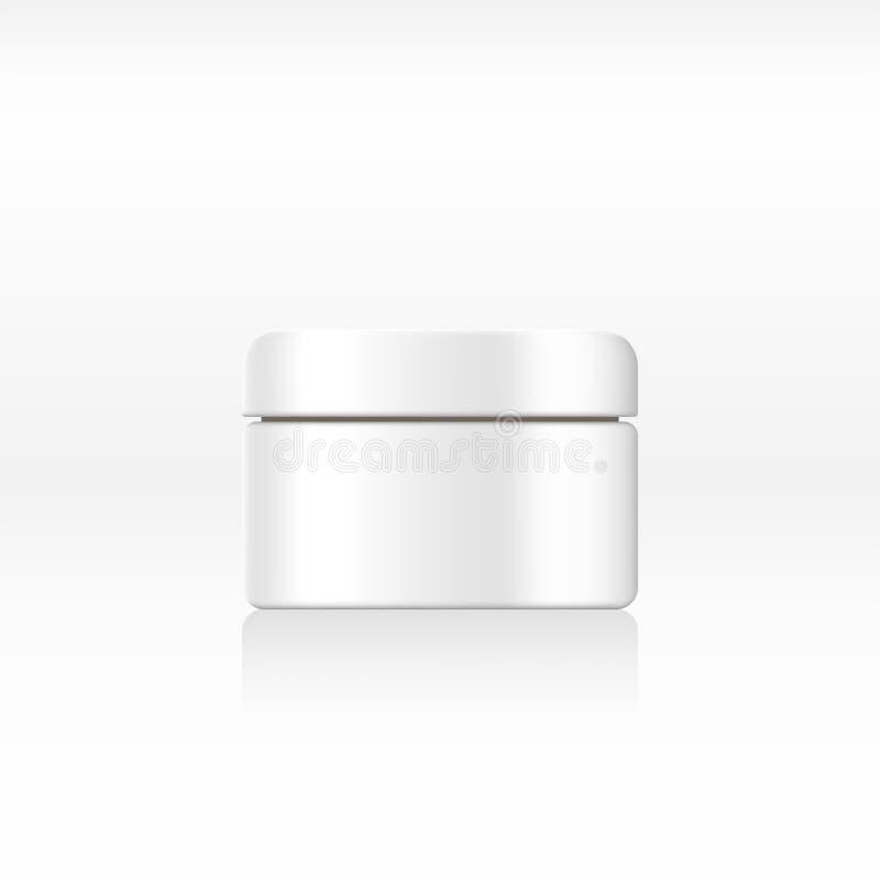 Klar vitkrämkrus, behållare för kosmetiska produkter på abstrakt bakgrund för annons Realistisk 3d modell, kosmetisk templat stock illustrationer