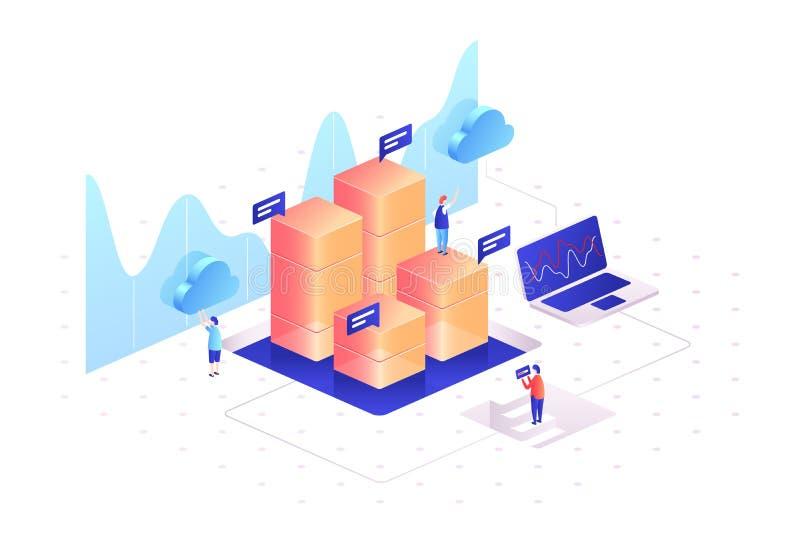 Klara av datagrafer av statistik Analysering av information stock illustrationer