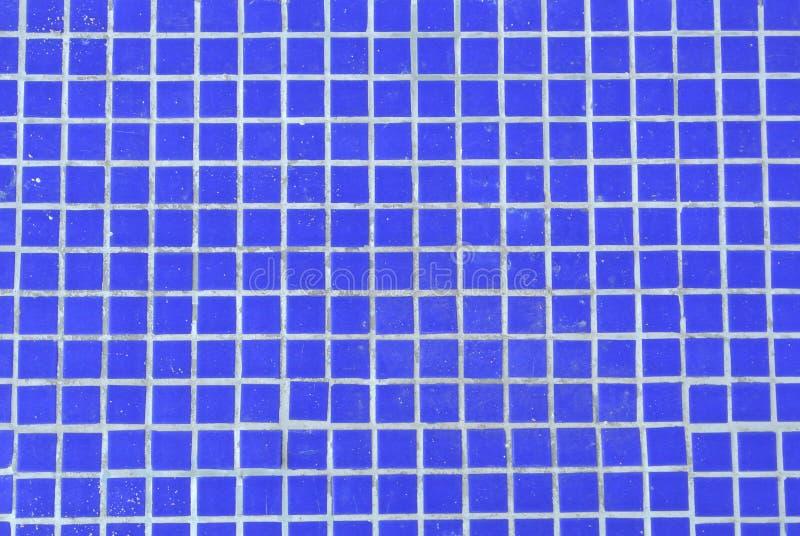Klare dunkelblaue Hintergrundbeschaffenheit des Fliesenmosaik-Swimmingpools stockfoto