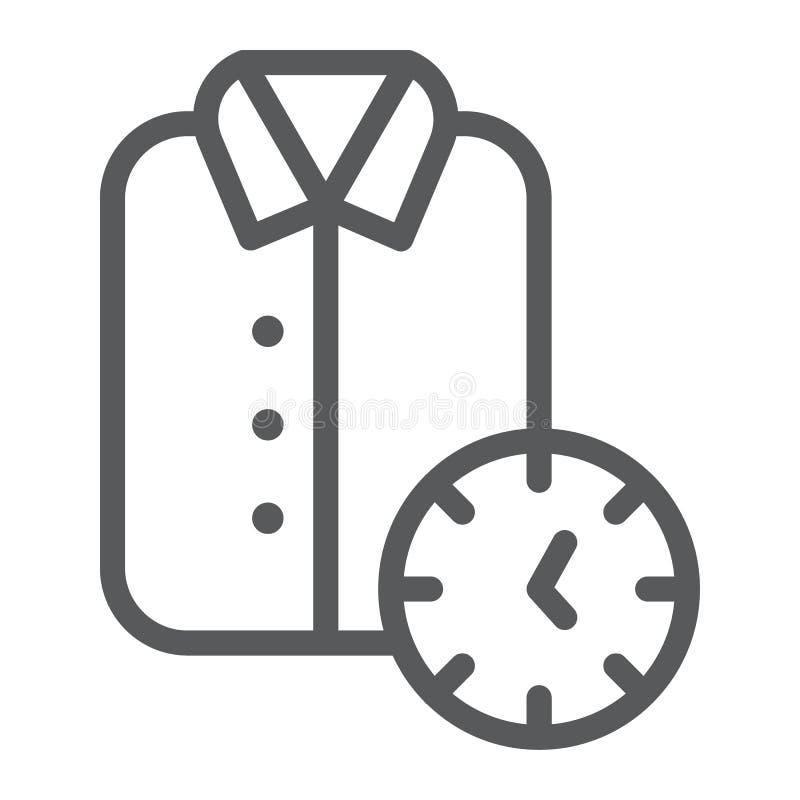 Klare Eillinie Ikone, sauberes und Service, Hemdzeichen, Vektorgrafik, ein lineares Muster auf einem weißen Hintergrund stock abbildung