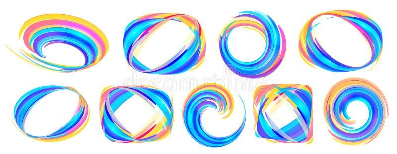 Klare Farben blau und orange Linien abstrakter Rahmensatz des Vektors lokalisiert auf weißem Hintergrund lizenzfreie abbildung