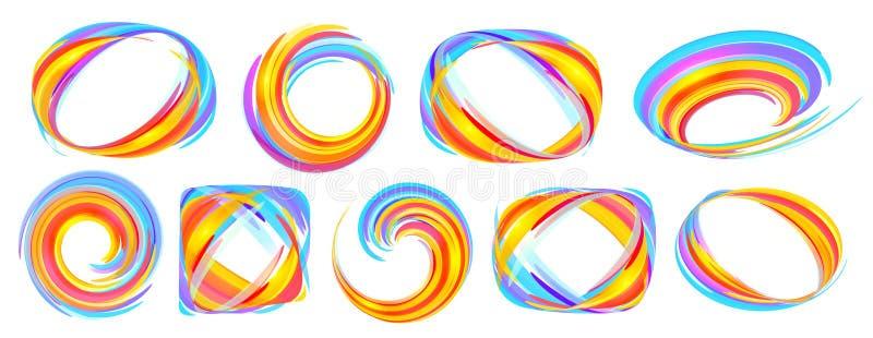 Klare Farben orange und blaue Linien abstrakter Rahmensatz des Vektors lokalisiert auf weißem Hintergrund vektor abbildung