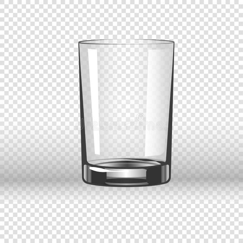 Klare glasige Schale für Wasser, leeres Trinkglas lokalisiert vektor abbildung