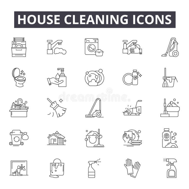 Klare Linie Ikonen des Hauses für Netz und beweglichen Entwurf Editable Anschlagzeichen Hausreinigungsentwurfs-Konzeptillustratio lizenzfreie abbildung