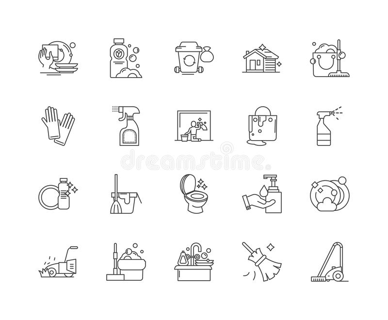 Klare Linie Ikonen, Zeichen, Vektorsatz, Entwurfsillustrationskonzept des Hauses vektor abbildung