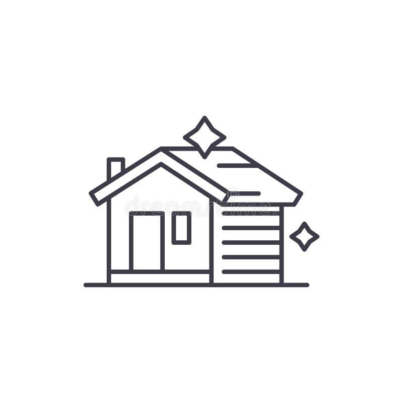 Klare Linie Ikonenkonzept des Hauses Lineare Illustration des Hausreinigungsvektors, Symbol, Zeichen stock abbildung