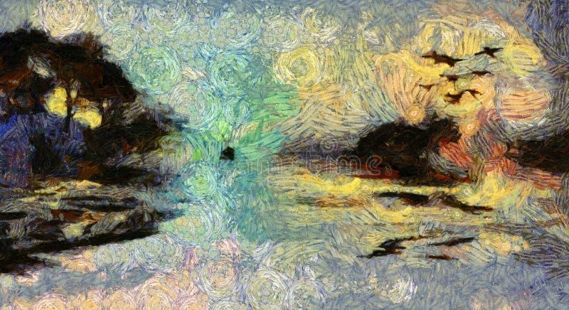 Klare Malerei des Insel-Sonnenuntergangs oder des Sonnenaufgangs vektor abbildung