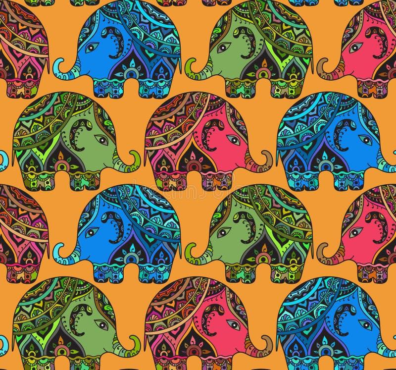 Klare nahtlose Beschaffenheit mit stilisierten kopierten Elefanten in Indi stock abbildung