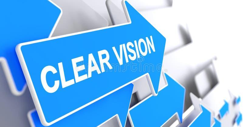 Klare Vision - Aufschrift auf dem blauen Pfeil 3d stock abbildung
