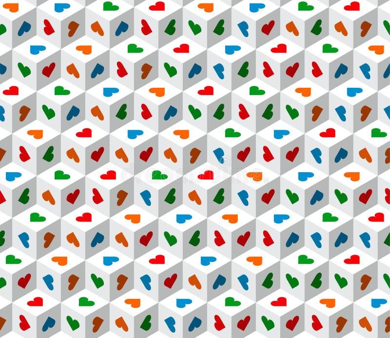Klare Zusammenfassung 3d berechnet geometrischen nahtlosen Musterweiß mit mehrfarbigen Herzen stock abbildung