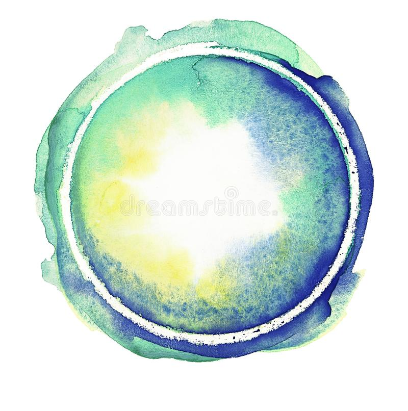 Klarer blauer, grüner, Smaragd- und gelber Aquarellkreis Helle handgemachte PastellGestaltungselemente Nass handgemaltes Mehrfarb stock abbildung