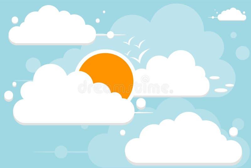 Klarer blauer Himmel mit Sonne, Wolken und Fliegenv?geln Bew?lkter Landschaftshintergrund stock abbildung