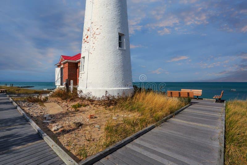 Klarer Punkt-Leuchtturm auf Oberem See lizenzfreies stockfoto