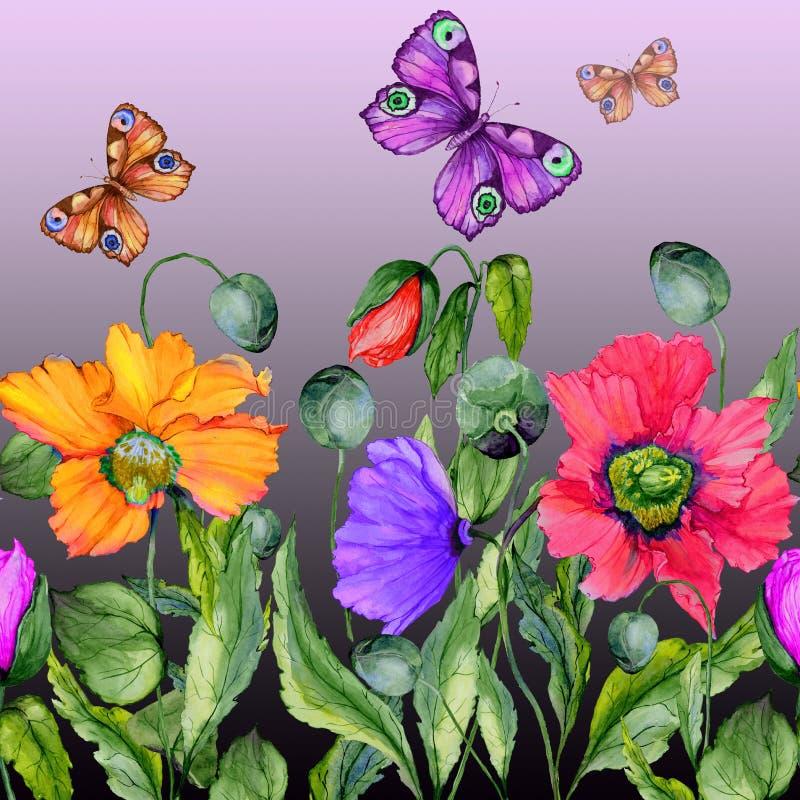 Klarer Sommerhintergrund Schöne bunte Mohnblumenblumen und Fliegenschmetterlinge auf purpurrotem Hintergrund Quadratische Form stock abbildung