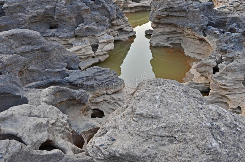 Klares und Süßwasser im kleinen Teich der Felsenschlucht lizenzfreies stockbild