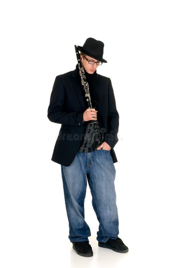 klarinettmusikaktör arkivfoton