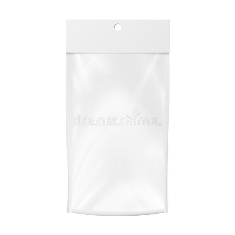Klarsichthülle-Vektor-freier Raum Realistischer Spott herauf Schablone der Klarsichthülle-Tasche Säubern Sie Hang Slot Verpackend vektor abbildung