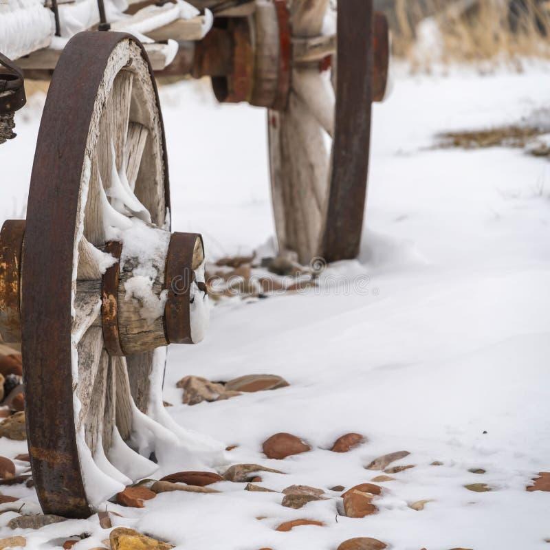 Klart fyrkantigt slut upp av de rostiga hjulen av en gammal trävagn som beskådas i vinter royaltyfria foton
