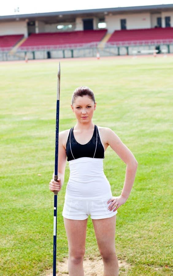 klart kast för idrotts- säker javelin till kvinnan royaltyfri foto