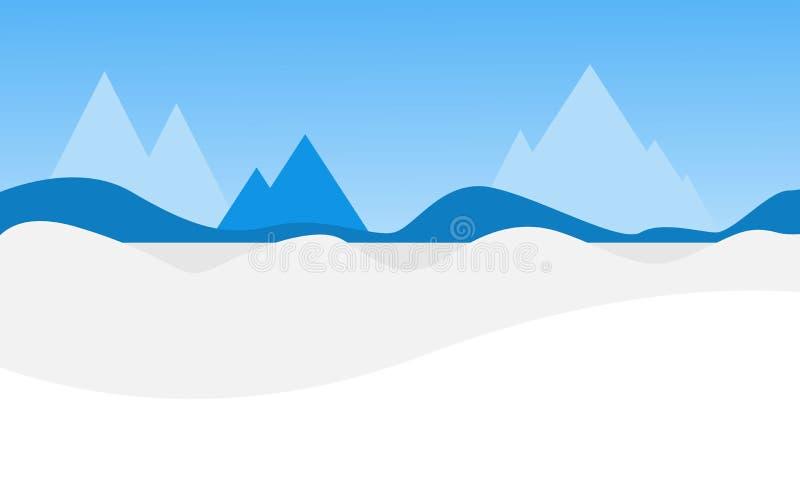 Klart vinterlandskap Insnöade vinterberg också vektor för coreldrawillustration stock illustrationer