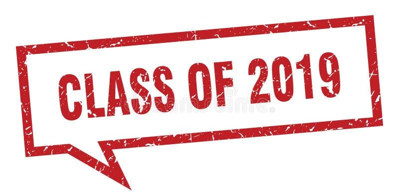 klasa 2019 znak klasa 2019 mowa bąbel Klasa 2019 royalty ilustracja