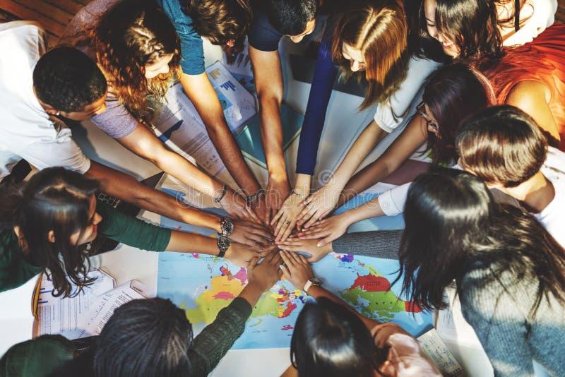 Klasgenootsolidariteit Team Group Community Concept stock foto