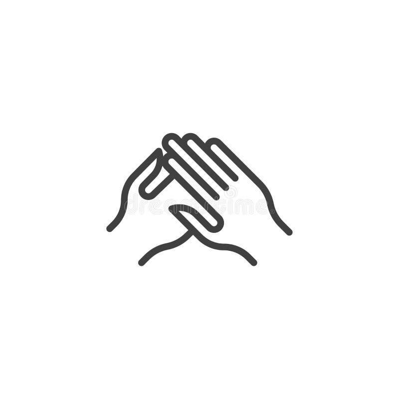 Klaskać ręka gesta linii ikonę royalty ilustracja