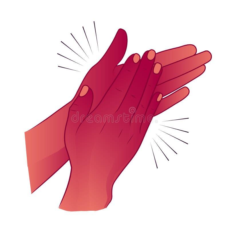 Klaskać ręki lub oklaskiwać gratulowanie aplauz ilustracja wektor