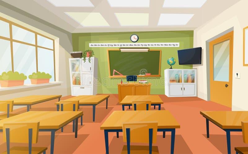Klaslokaal bij school of universiteit voor onderwijs stock illustratie