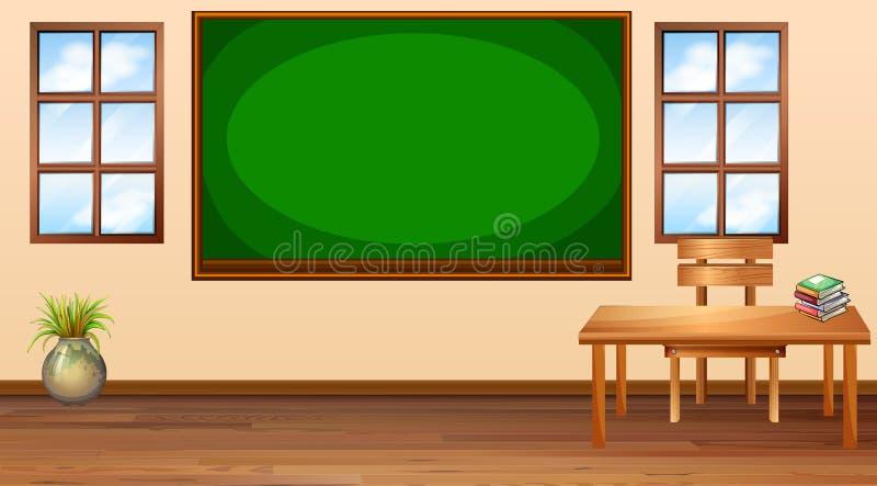 Klaslokaal met bord op centrum vector illustratie