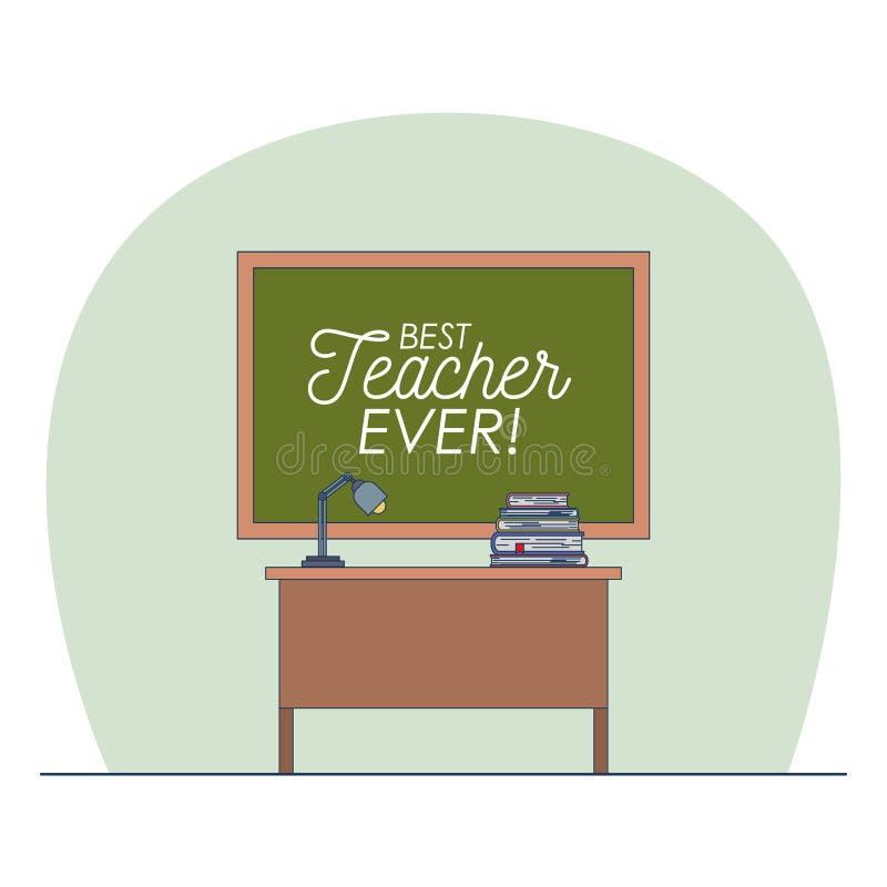 Klaslokaal met bord met tekst van beste leraar ooit stock illustratie