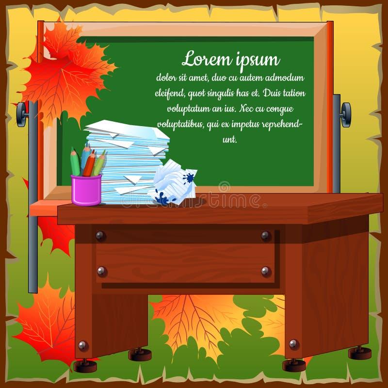 Klaslokaal met bureau en bord stock illustratie