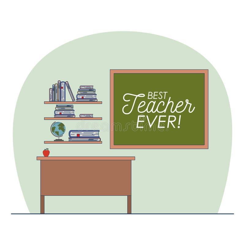Klaslokaal met houten plank met boeken en bord met tekst van beste leraar ooit vector illustratie