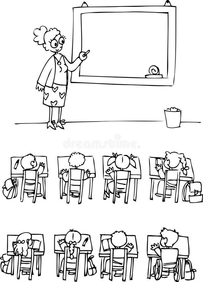 Klaslokaal met leerlingen royalty-vrije illustratie