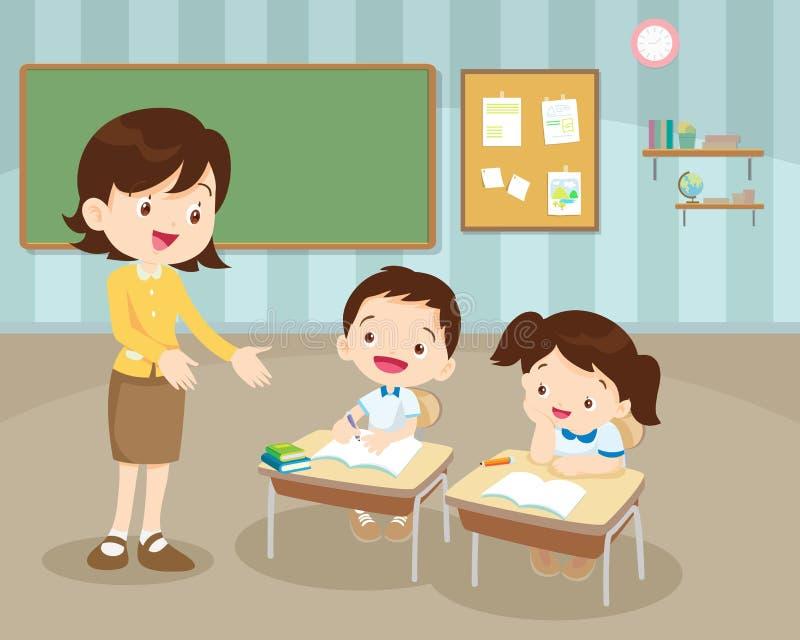 Klaslokaal met leraar en leerlingen stock illustratie
