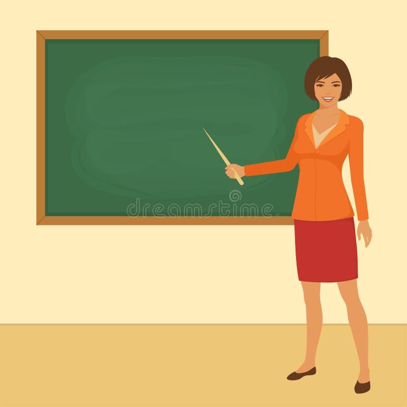Klaslokaal in school, leraar vector illustratie