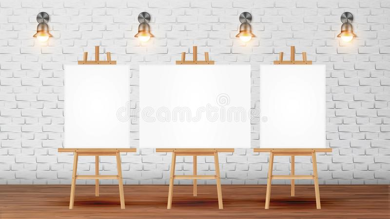 Klaslokaal voor de Vector van Schilderscourse with equipment stock illustratie